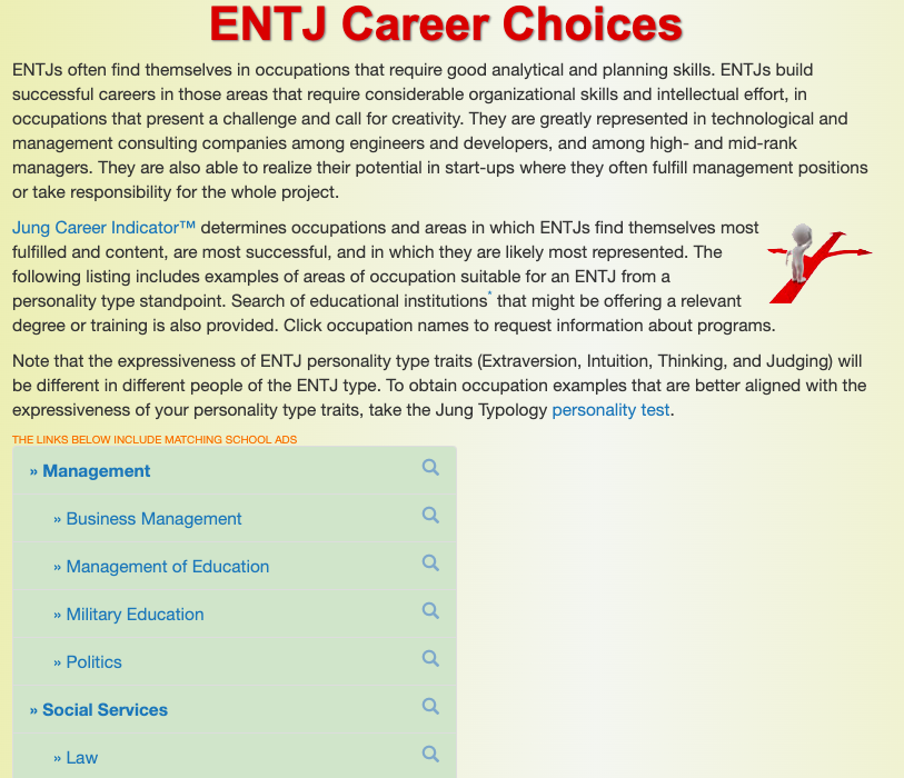 Personality Type Careers ENTJ Example