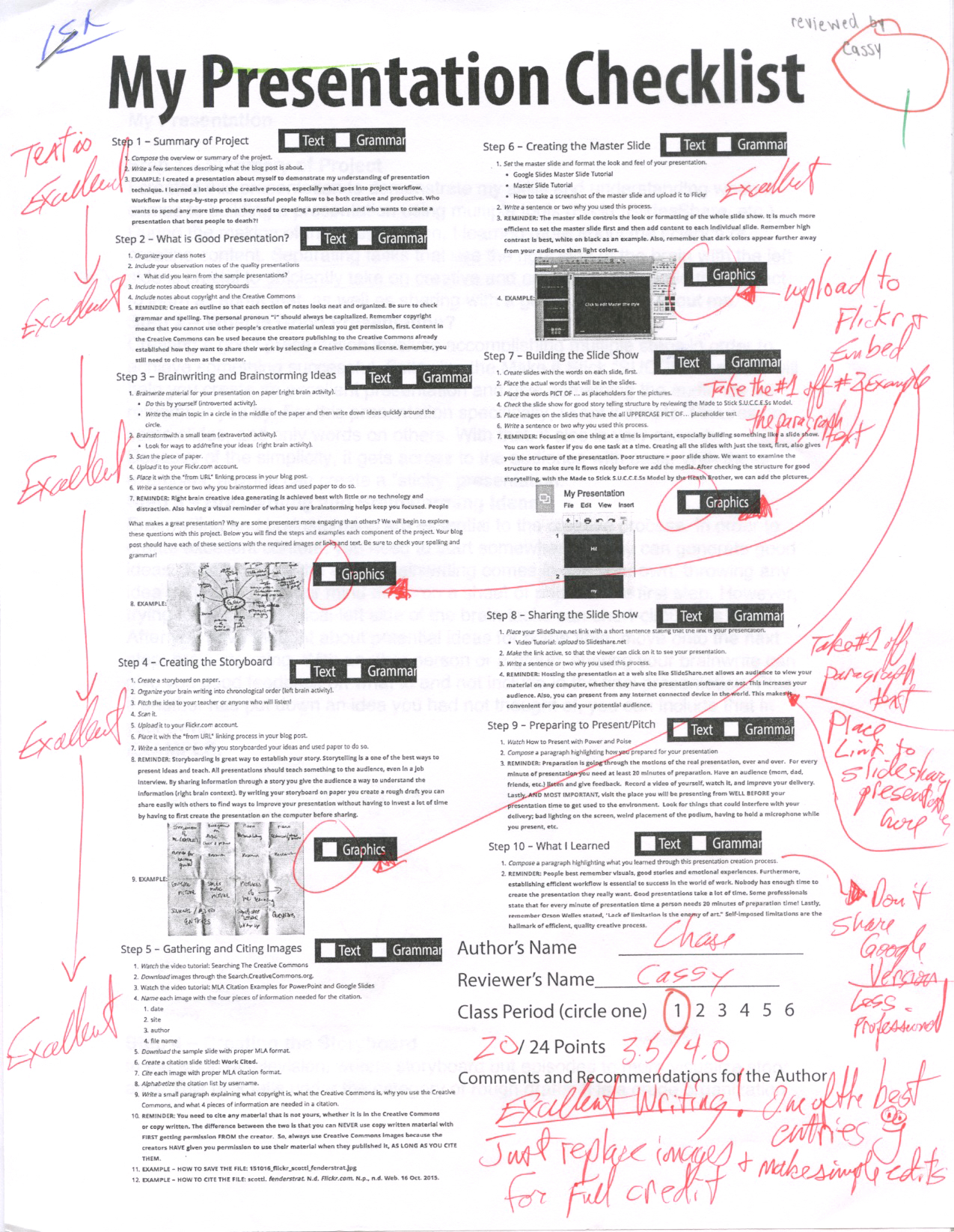 My Presentation Marked Post on Paper